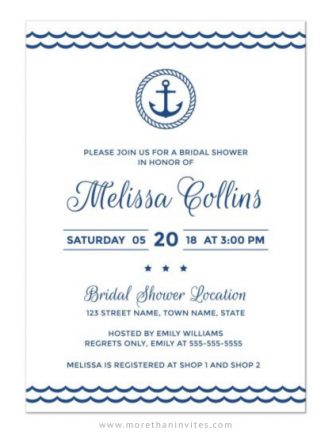 Modern and elegant bridal shower invite for nautical themed bridal showers.