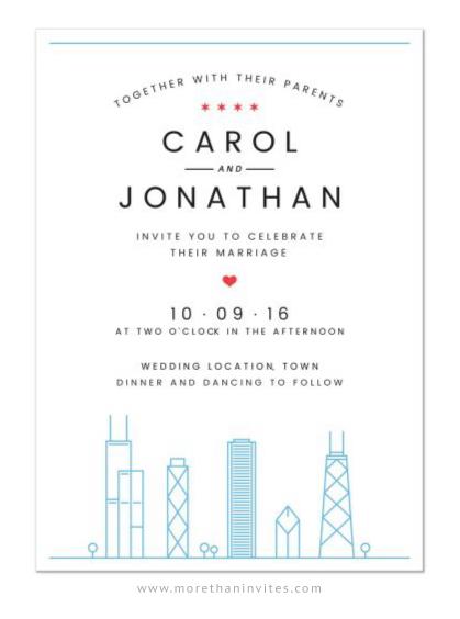 Chicago skyline destination wedding invitation with flag on the back
