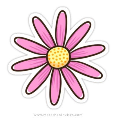 Pink cartoon flower sticker.