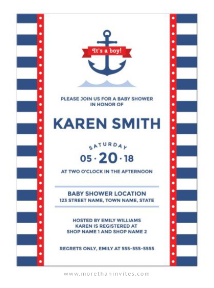 It's a boy nautical baby shower invite with anchor, stripes and abstract waves