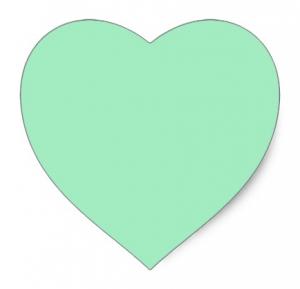 Mint green heart stickers - favor labels, envelope seals, craft supplies