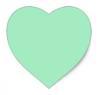 Mint green heart stickers - favor labels, envelope seals, craft supplies