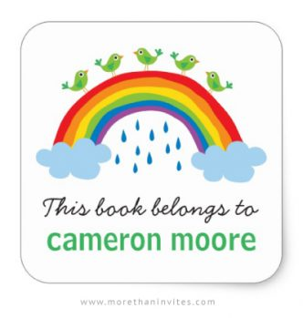 Cute bookplates for kids with green birds standing on a rainbow