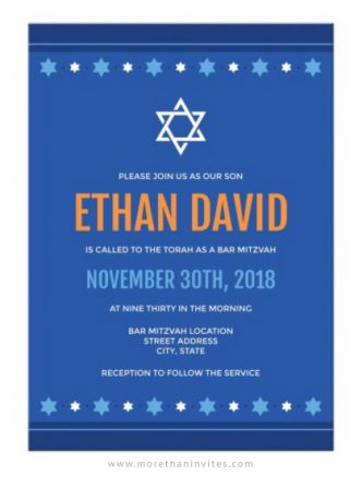 Modern, blue bar mitzvah invitations