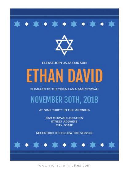 Modern, blue and orange bar mitzvah invitations