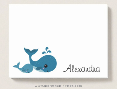 Fun post-it notes for kids with cute whales