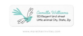 Elegant return address labels with elegant, aqua blue bird