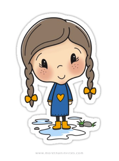 Cute stickers featuring a little girl in yellow wells