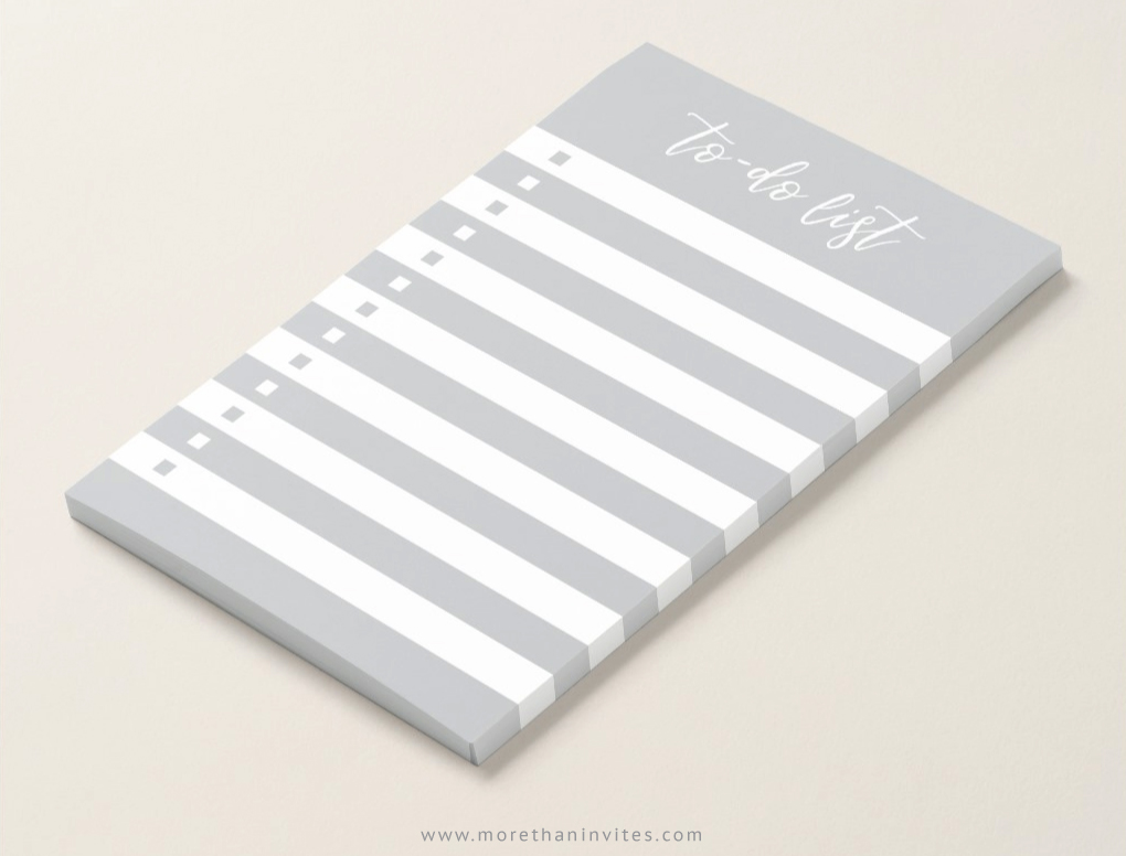 To-do list sticky notes with gray and white lines and check boxes