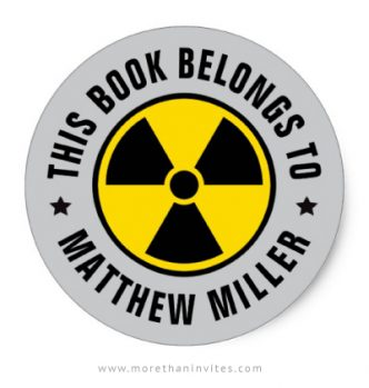 Nuclear radiation symbol bookplate sticker for boys