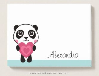Cute, personalized ricky notes with cartoon panda holding a pink heart
