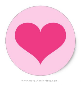 Pink heart stickers, decorative stickers or envelope seals for Valentines day