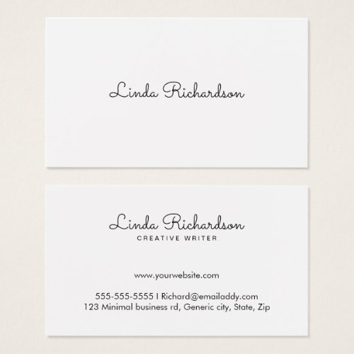 Elegant, white business cards