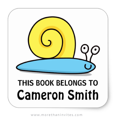 Cute snail book label for school books