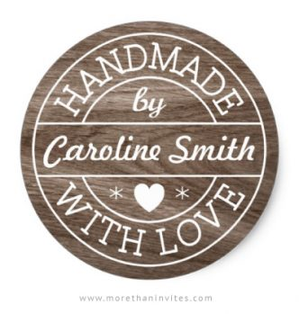 Elegant handmade with love stickers with custom name on wood grain background