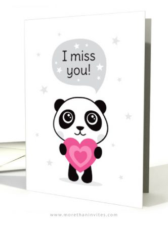 I miss you card with cute panda holding a pink heart
