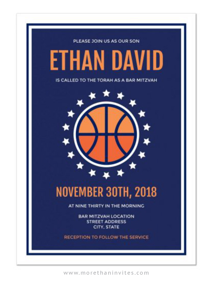 Modern basketball bar mitzvah invitations blue and orange with