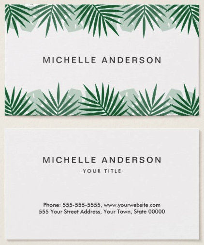 Tropical leaf border spa business cards