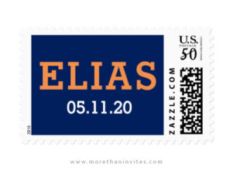 Modern bar mitzvah postage stamps with personalized name and date