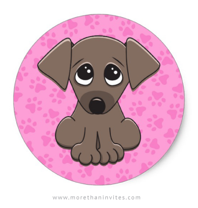 Brown puppy dog stickers for kids with pink paw print background