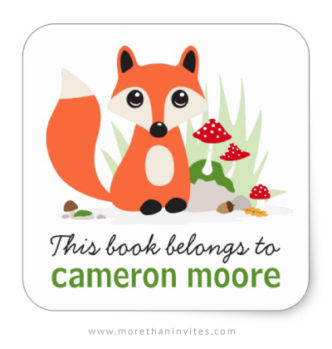 This book belongs to labels with cute woodland fox