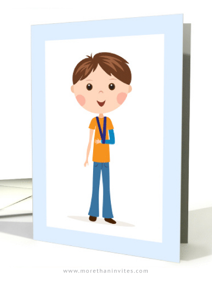 Speedy recovery card featuring a little boy with his broken arm in a cast