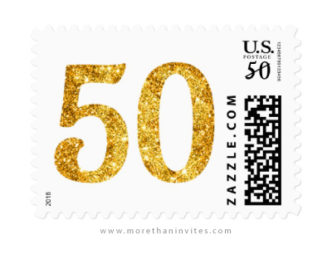 Golden glitter number fifty, fiftieth birthday or anniversary postage stamps