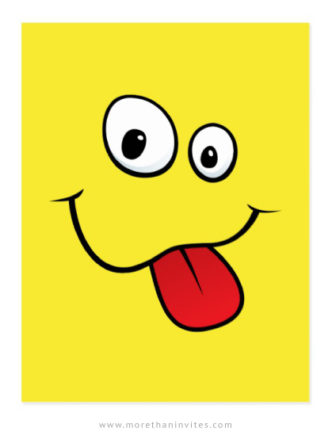 Happy face with teasing tongue yellow postcards