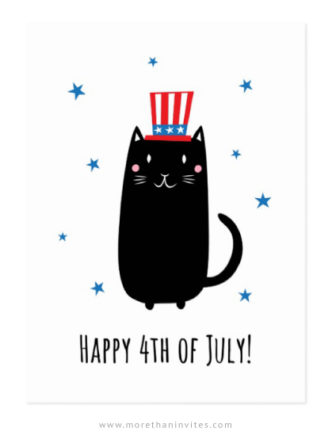 Happy fourth of July postcard featuring a black cat with an american tars and stripes hat