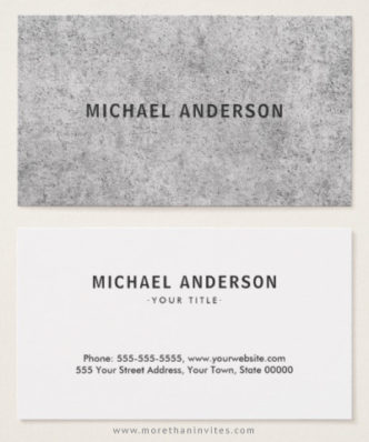 Gray, urban concrete business cards for men