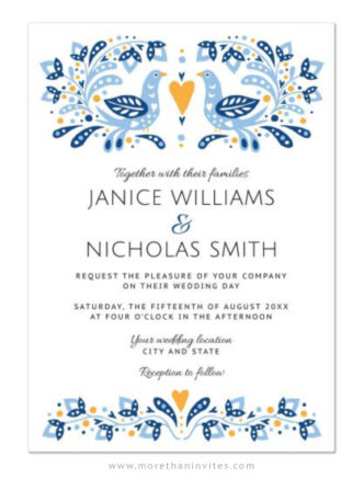 Modern folk art birds wedding invitations