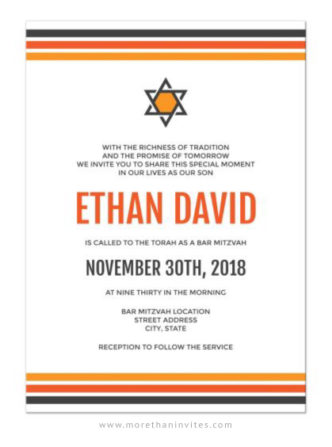 Modern bar mitzvah invitations with orange and gray stripes