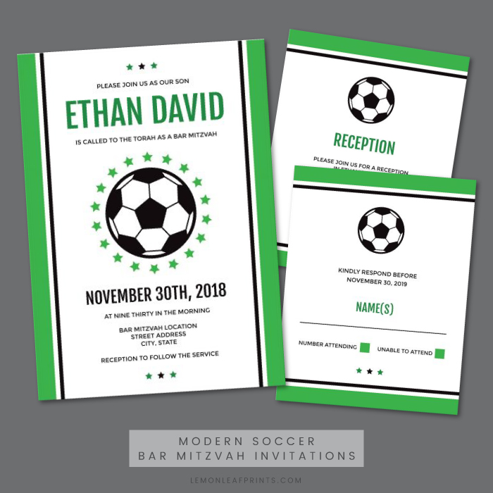 Modern soccer bar mitzvah invitations green and black