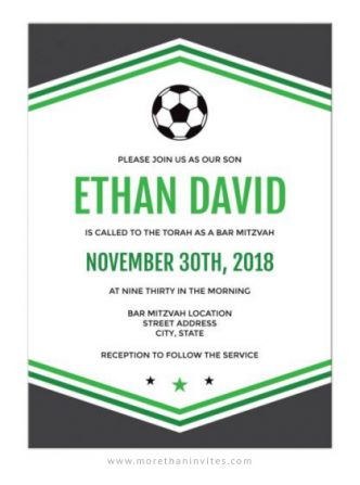 Modern soccer bar mitzvah invitations green and dark gray