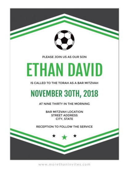 soccer bar mitzvah invitations with soccer ball and dark gray and