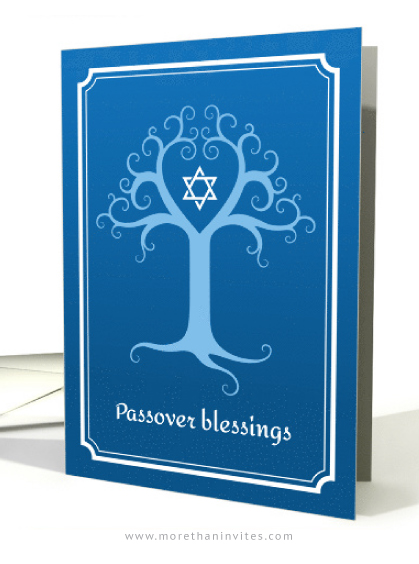 Beautiful passover cards featuring a blue Tree of Life and Star of David