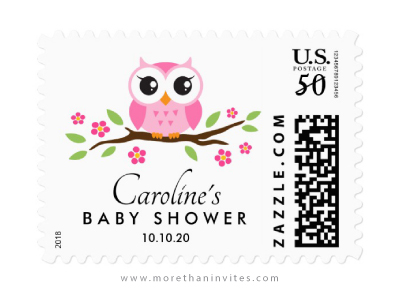 Pink owl baby shower postage stamps with custom name and date