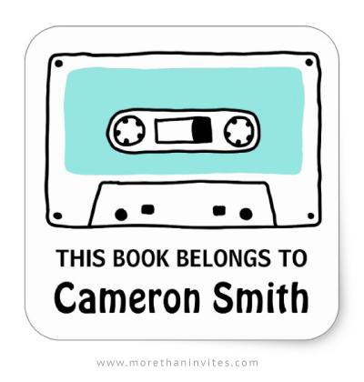 Fun book labels featuring a retro music cassette tape