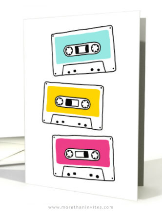 Colorful, Retro music cassettes blank any occasion cards