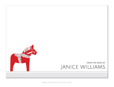 Red Dala horse note cards with custom name