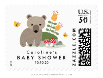 Bear baby shower postage stamp with custom name and date
