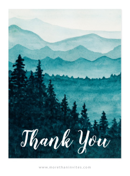 Watercolor mountains thank you cards