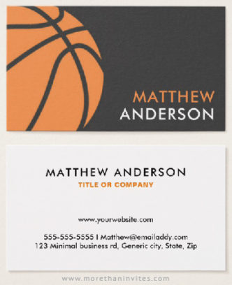 Basketball coach or player business cards