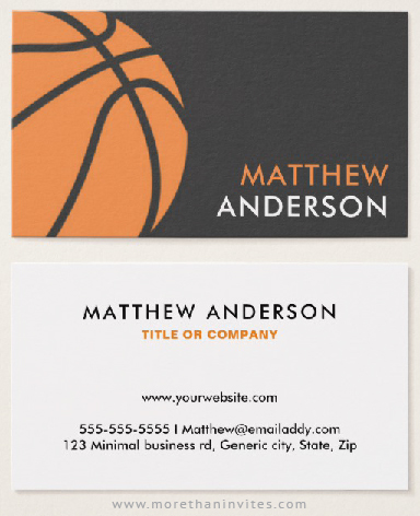 Basketball coach or player business cards modern gray and orange basketball coach or player business cards colourmoves