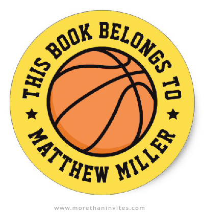 Basketball book labels / bookplate stickers for kids