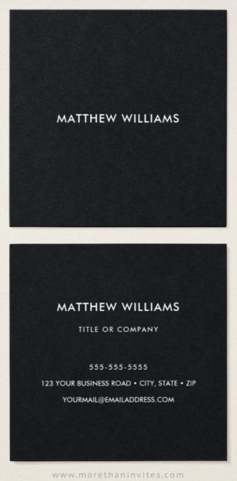 Black business cards - square, modern, minimal design