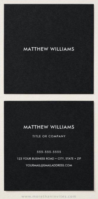 Black business cards - square, modern, minimal design