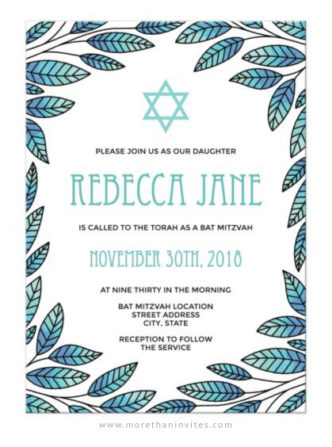 Blue greenery border bat mitzvah invitations