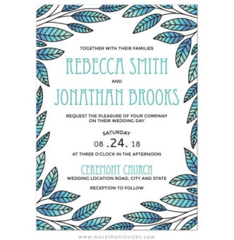 Modern, storybook style wedding invitations with blue leaf border