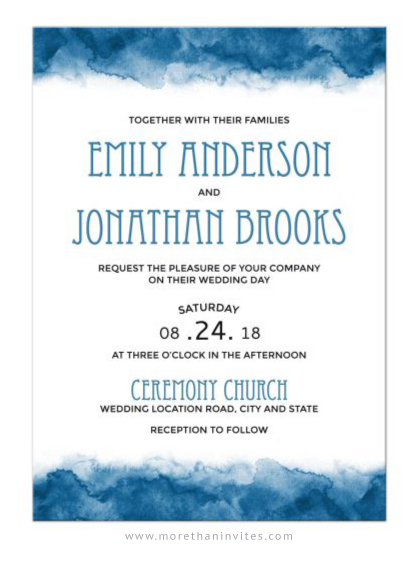 Blue watercolor borders wedding invitations